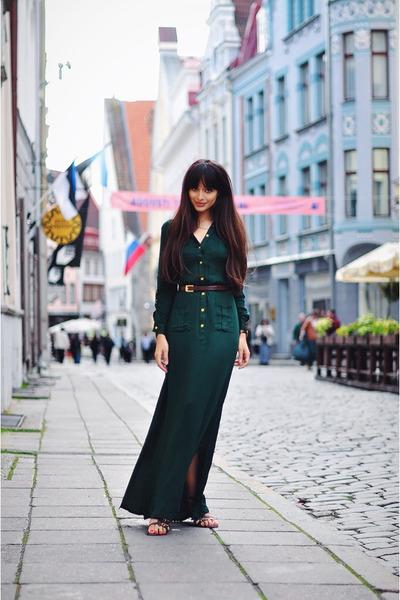 forest green Monton dress - burnt orange Inga Xavier bag