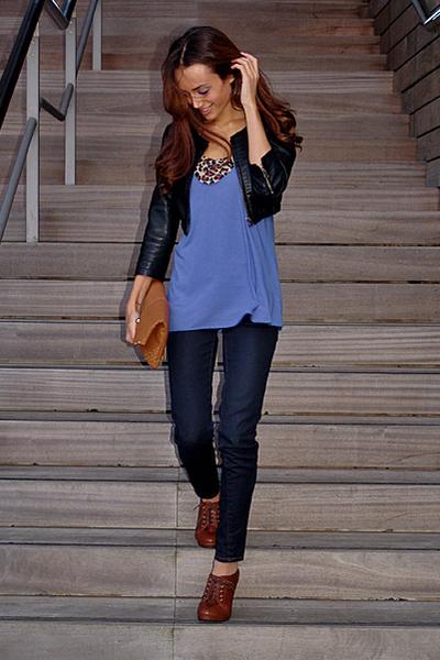 black sropped leather GINA TRICOT jacket - skinny Zara jeans