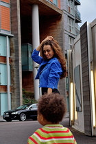 blue suede biker BikBok jacket - black sequin Topshop leggings
