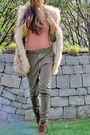 Pink-cardigan-khaki-pants-brown-boots-beige-vest