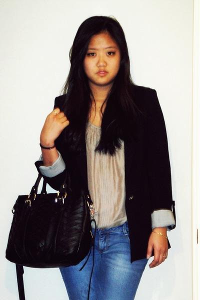 blue Zara jeans - navy Zara blazer - black Zara bag - tan Zara heels - tan Zara