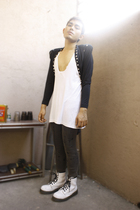 black norikoke blazer - gray dept store stockings - white Dr Martens boots - whi