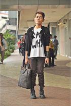 Dirty Jane coat - white karl why diy shirt - brown thrifted pants - black qiagen