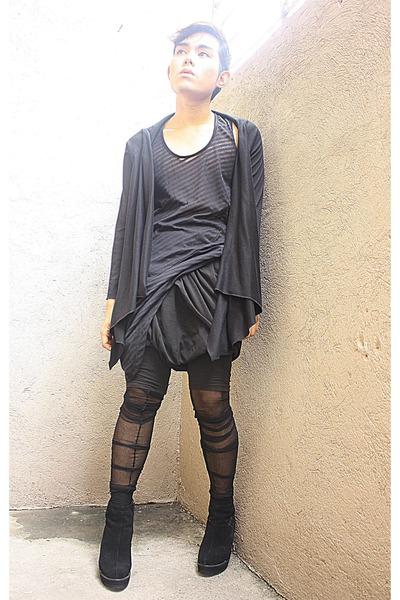 black 9 am cardigan - black Virtual Mae shoes - black norman noriega leggings