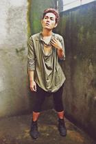 Jil Sander shirt - Topshop pants - satchi boots