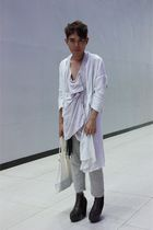 white coat - purple top - beige pants - brown Soule Phenomenon shoes