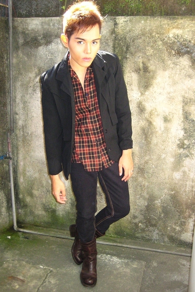 vandervost blazer - porcupine shirt - Mossimo pants - dsqauared boots