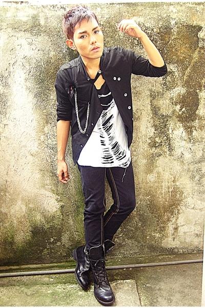 black DIEGO blazer - black Wedins boots - black Zara shirt - white FNH shirt