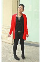 red Dorothy Perkins coat - black Nine West shoes - black Fruit of the Loom shirt