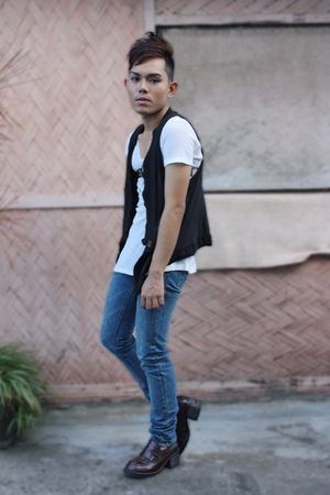 black Little Miss Marie vest - blue Cheap Monday pants - white Topshop shirt - b