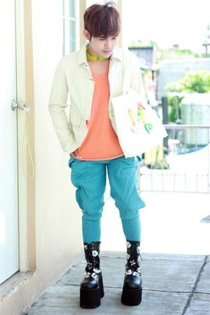 black barbie rawk boots - off white Helmut Lang jacket - light orange COS shirt