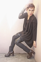 black Oasis cardigan - black pants - brown No Boundaries shoes - black Zegna shi