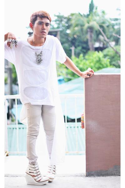white Paradigm Shift shirt - white Asian Vogue wedges