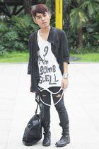 black DREX FABLE cardigan - Terranova pants - white osaka shirt - black Kenneth