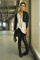 black DREX FABLE coat - black DIY pants - black Nine West shoes - white Hanes sh