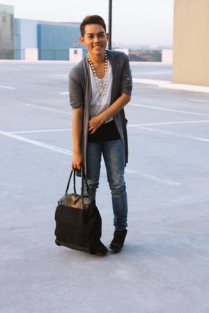 gray cardigan - white shirt - blue pants - brown boots - white purse - white acc