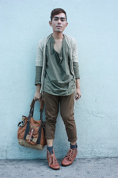 brown Le SOLEil boots - green 9 am shirt - brown FNH bag