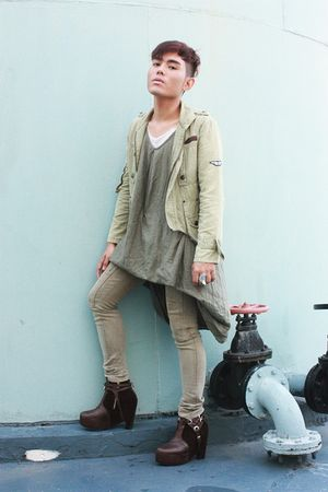 green jacket - green DREX FABLE dress - beige pants - brown Soule Phenomenon boo