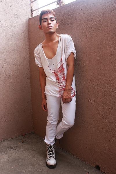 white DIY shirt - white Dr Martens boots - white solo pants