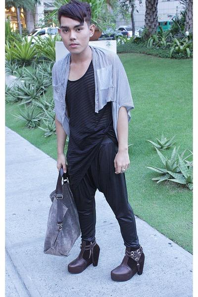 gray Kaiser cardigan - black Ksubi shirt - black thrifted pants - brown Soule Ph