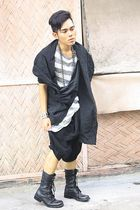 black Full Team vest - silver thrifted dress - black Wedins boots - silver Topma