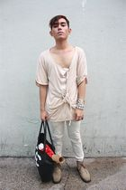 beige Zara shirt - white Oxygen pants - black thechicparade bag - brown cesare p