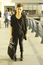 black Kenneth Cole purse - black Dr Martens boots - black Zucca jeans
