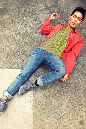 red calvin klein jacket - gray Kickers shoes - blue Cheap Monday jeans