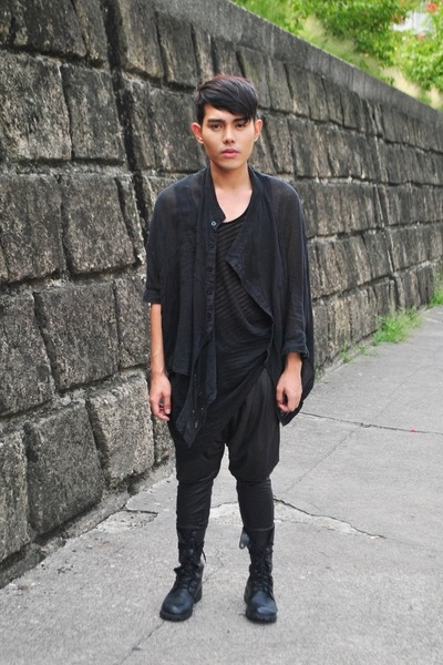 black DREX FABLE coat - black Ksubi shirt - black hongkong pants - black Wedins