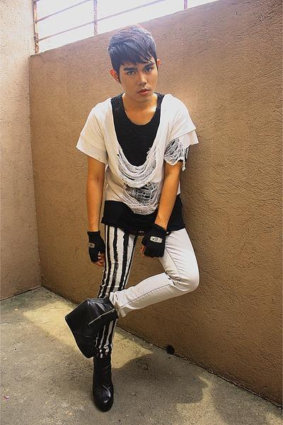 black Little Miss Marie shirt - white K2 shirt - silver Hang Ten pants - black n