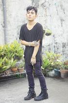 black Zegna top - purple jean paul gaultier pants - black boots