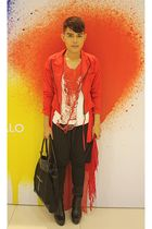 red don protasio coat - red Dorothy Perkins cardigan - white DIY t-shirt - black