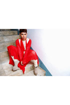 red Proud Race coat - eggshell don protasio top - eggshell don protasio pants -