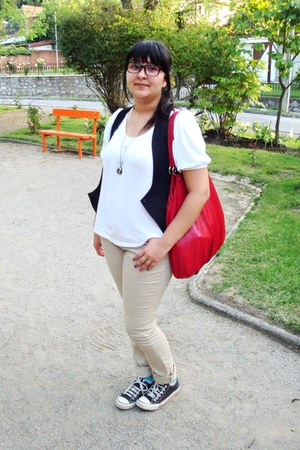 red Opposite bag - camel alaniz jeans - black Sybilla blazer - white Zara blouse