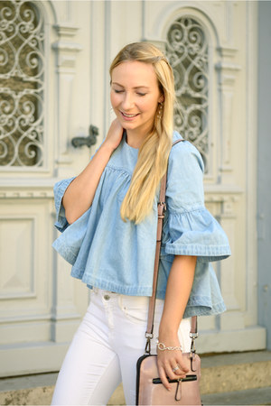 zaful blouse - Zara jeans - zaful bag
