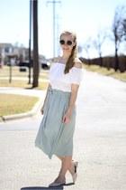DressLink blouse - Forever 21 skirt - Aldo flats
