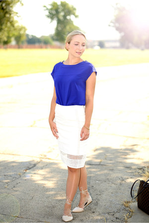 calvin klein shirt - JCrew skirt - Aldo flats