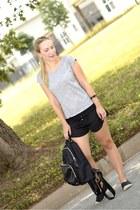 set shirt - Zara shorts - emporio armani flats