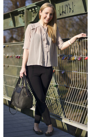 see by chloé bag - Guess pants - tory burch flats - asos blouse