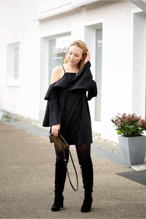 GAMISS boots - shein dress - Louis Vuitton bag