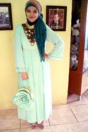 light blue silk Mango bag - light blue silk Mango dress