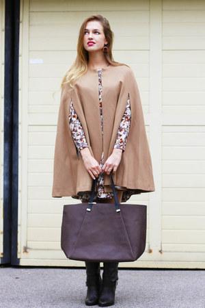 camel Mango cape - dark brown Zara boots - maroon H&M dress - dark brown H&M bag