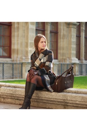 brown stylish Chicwish coat - black leather Zara boots - navy Mango dress