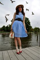 brown Urban Outfitters hat - red Worthington shoes - blue vintage dress