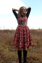 red talbots dress - black Duo boots - black belt - black Macys shirt