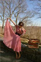 red vintage dress - brown modcloth belt - brown free people glasses - beige vint