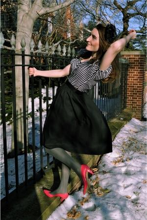 black vintage dress - pink vintage shoes - gray tights - black vintage belt - bl