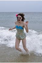 blue vintage swimwear - white sunglasses - pink accessories