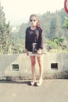 black bag - black sunglasses - off white pants - black sweatshirt - peach wedges