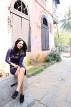 purple dress - black boots
